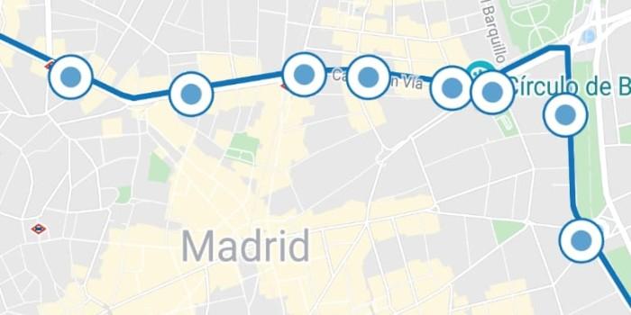 Mapa Lineas Emt Madrid.Linea 001 Emt Madrid Paradas Mapa Recorrido Gratuita